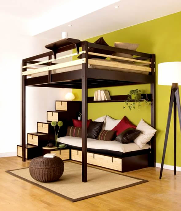 Contemporary bedroom design small space loft bed couple for Bunk bed bedroom designs